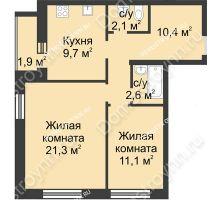2 комнатная квартира 59,1 м² - ЖК Дом на Иванова