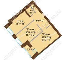 2 комнатная квартира 67,685 м² в ЖК Солнечный город, дом на участке № 214