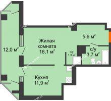 1 комнатная квартира 45,1 м² - ЖК на ул. Греческого Города Волос, 82