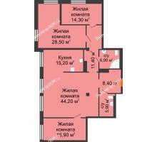 4 комнатная квартира 147,6 м², ЖК Богатяновский - планировка