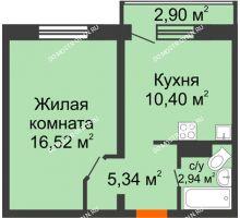 1 комнатная квартира 36,07 м² в ЖК Корабли, дом № 9-1 - планировка