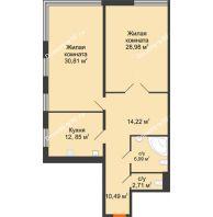 Студия 106,4 м², Жилой дом на ул. Платонова, 9,11 - планировка