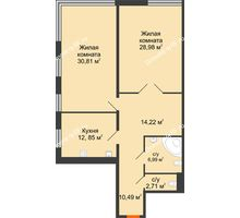 2 комнатная квартира 107,05 м², Жилой дом на ул. Платонова, 9,11 - планировка