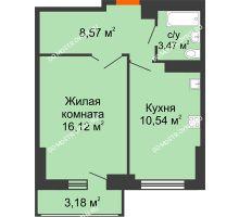 1 комнатная квартира 40,29 м², ЖК Орбита - планировка