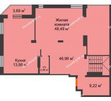 4 комнатная квартира 238,81 м² в ЖК Континент, дом № 16 - планировка