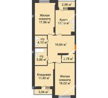 2 комнатная квартира 93,15 м², НЕБО на Ленинском, 215В - планировка