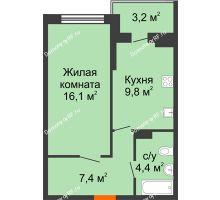 1 комнатная квартира 39,3 м² в ЖК Дружный 2, дом Литер 3.3 - планировка