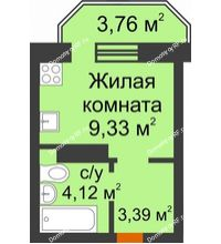 Студия 17,97 м² в ЖК Светлоград, дом Литер 16 - планировка