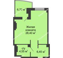 Студия 42,75 м² в ЖК Новый Город, дом № 3 - планировка