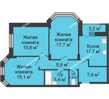 3 комнатная квартира 81,9 м² в ЖК Цветы, дом № 20 - планировка