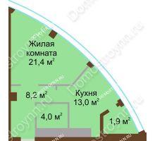 1 комнатная квартира 48,5 м² в ЖК Монолит, дом № 89, корп. 1, 2 - планировка