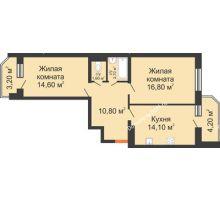 2 комнатная квартира 64,8 м² в ЖК Вересаево, дом Литер 7/2 - планировка