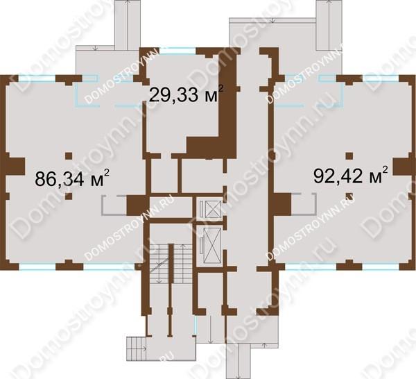 Планировка 1 этажа в доме № 12 в ЖК На Победной