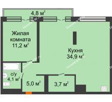 1 комнатная квартира 63,5 м² в Квартал Новин, дом 6 очередь ГП-6 - планировка