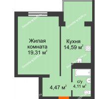 1 комнатная квартира 42,48 м², ЖК Зеленый квартал 2 - планировка
