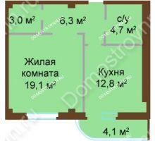 1 комнатная квартира 50 м², ЖК Бояр Палас - планировка