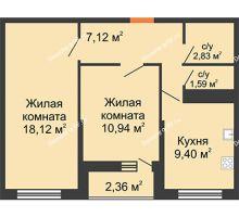 2 комнатная квартира 50 м² в ЖК Рекорд, дом 2 этап - планировка