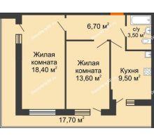 2 комнатная квартира 58,7 м² в ЖК Победный, дом Литер 3 - планировка