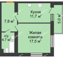 1 комнатная квартира 45,5 м² в ЖК Славутич, дом ГП-1 - планировка