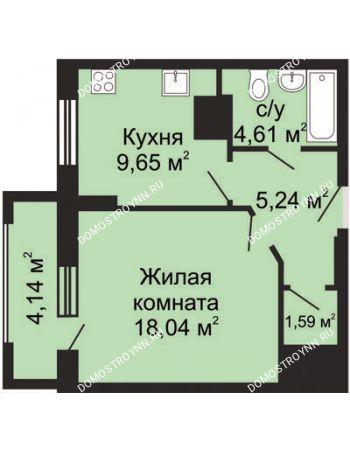 1 комнатная квартира 41,2 м² в ЖК Солнечный, дом № 5 - Гелиос