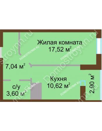 1 комнатная квартира 41,68 м² в ЖК Красная поляна, дом № 8