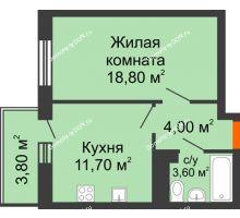 1 комнатная квартира 38 м² в ЖК Я, дом  Литер 2 - планировка