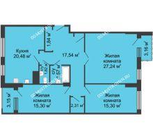 3 комнатная квартира 108,56 м², ЖК Сергиевская Слобода - планировка