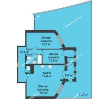 3 комнатная квартира 121,6 м², ЖК 230 футов - планировка