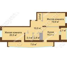 2 комнатная квартира 83,5 м² в ЖК Монолит, дом № 89, корп. 1, 2 - планировка