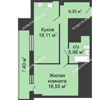 1 комнатная квартира 52,77 м², ЖК Гелиос - планировка