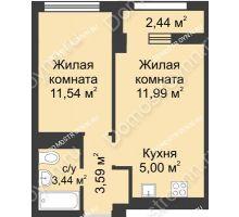 2 комнатная квартира 36,78 м², Каскад на Сусловой - планировка