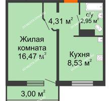 1 комнатная квартира 33,16 м² в ЖК Торпедо, дом № 19 - планировка