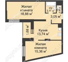 2 комнатная квартира 57,52 м² - ЖК Университетский