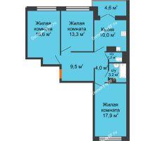 3 комнатная квартира 77,1 м², Жилой дом по ул.Минской 43/3 - планировка