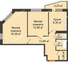 2 комнатная квартира 59,63 м², ЖК 9 Ярдов - планировка