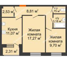 2 комнатная квартира 55,09 м² - Дом на Чаадаева