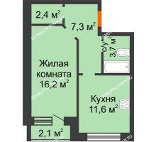 1 комнатная квартира 42,3 м² - ЖК Дом на Нижегородской