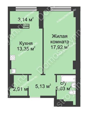 1 комнатная квартира 45,91 м² в ЖК Караваиха, дом № 5