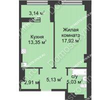 1 комнатная квартира 45,91 м² в ЖК Караваиха, дом № 5 - планировка