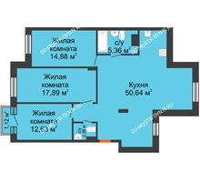3 комнатная квартира 104,1 м², ЖК Шаляпин - планировка