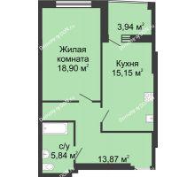 1 комнатная квартира 56,5 м² в ЖК Тихий Дон, дом № 1 - планировка