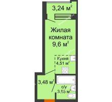 Студия 23,07 м² в ЖК Суворов-Сити, дом 2 очередь секция 1-5 - планировка