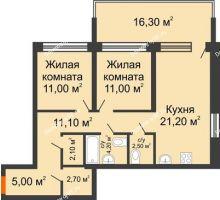 2 комнатная квартира 62,7 м² в ЖК Европейский квартал, дом ГП 3 - планировка