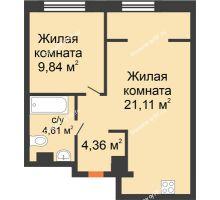 """2 комнатная квартира 39,92 м² в ЖК Европейский берег, дом ГП-9 """"Дом Монако"""" - планировка"""