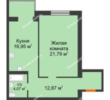 1 комнатная квартира 55,68 м², ЖК Зеленый квартал 2 - планировка