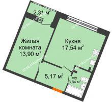 1 комнатная квартира 42,76 м² в ЖК Книги, дом № 2 - планировка