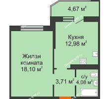 1 комнатная квартира 41,21 м² в ЖК Губернский, дом Литер 29 - планировка
