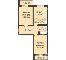 2 комнатная квартира 65,63 м² в ЖК Мой город, дом Литер 3 - планировка