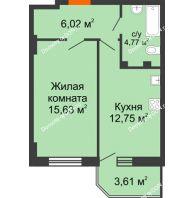 1 комнатная квартира 40,25 м² в ЖК Свобода, дом № 1 - планировка