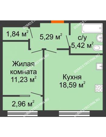 1 комнатная квартира 43,85 м² в ЖК Маленькая страна, дом № 4